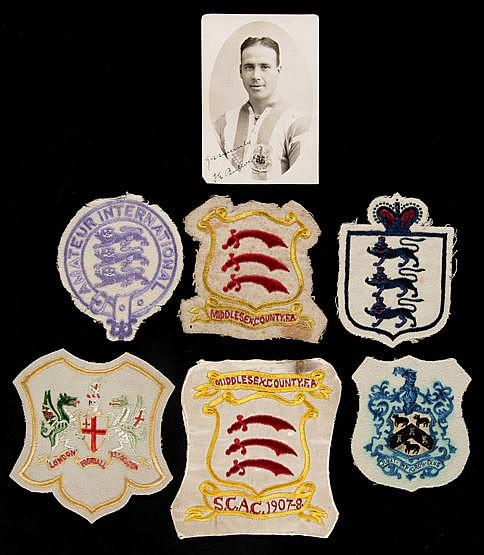 A group of six Fred Bullock representative football shirt badges,  com