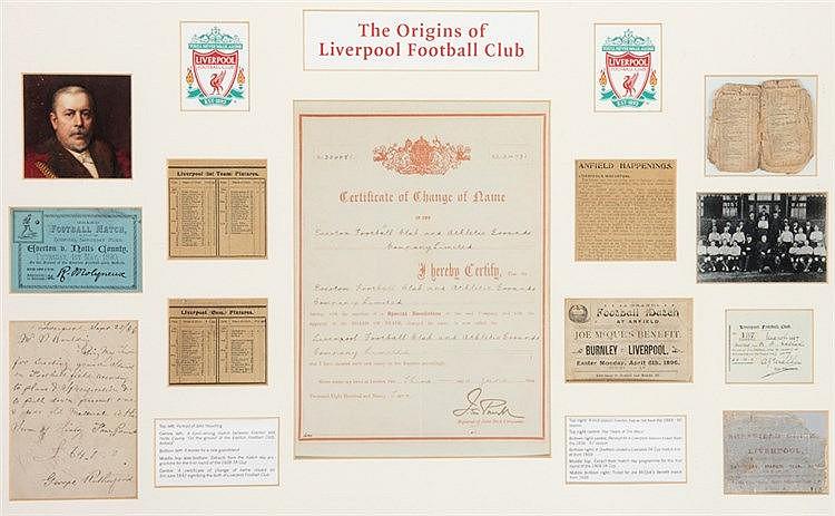 The Origins of Liverpool Football Club! memorabilia frame,  containing