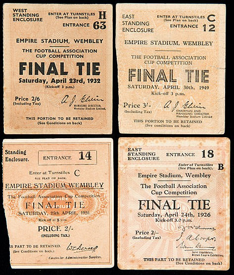Four F.A. Cup Final ticket stubs for 1925, 1926, 1932 & 1949,  Cardiff