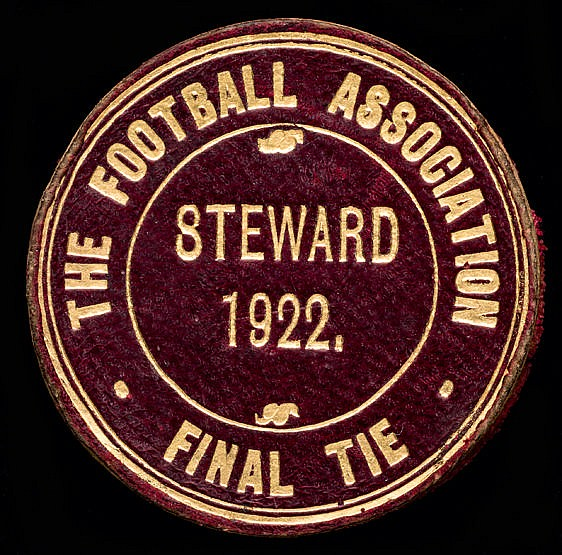 1922 F.A. Cup final steward's badge Huddersfield Town v Preston North