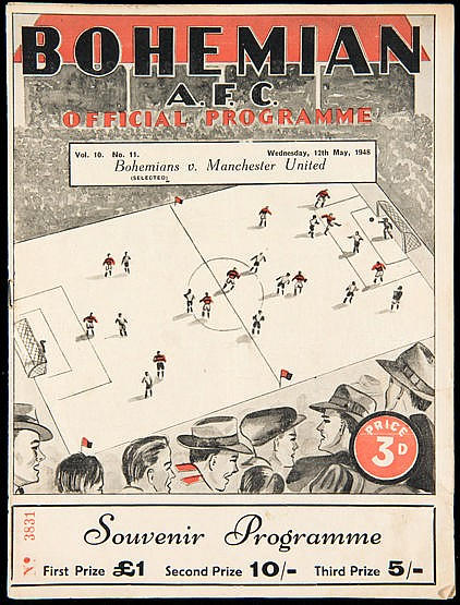 Bohemians v Manchester United programme 12th May 1948