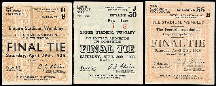 F.A. Cup Final ticket stubs for 1928, 1938 & 139,  Blackburn v Hudders