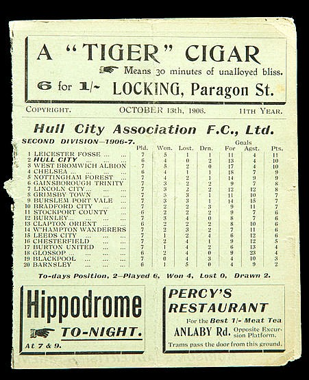 Hull City v Blackpool programme 13th October 1906, sold together with