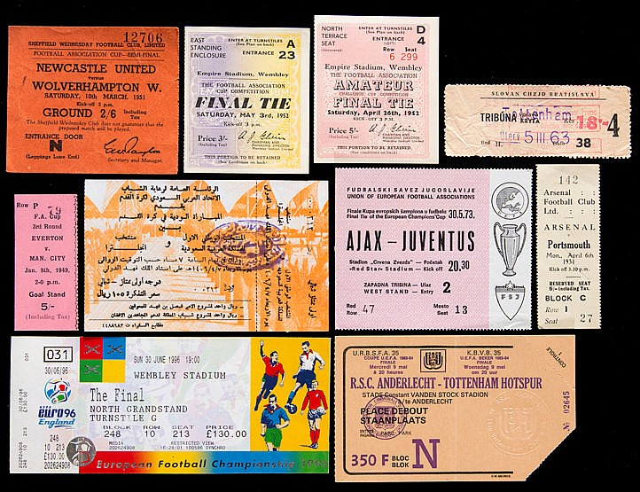 A collection of football tickets, wide variety including F.A. Cup Fin