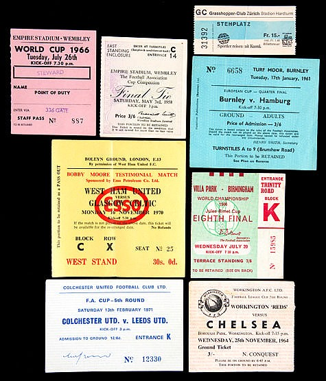 Collection of 53 football tickets 1950s to 1980s,  including 1966 Worl