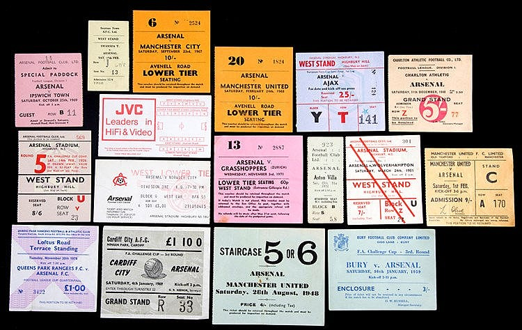 Arsenal FC tickets collection 1930s onwards,  pre-1960s breakdown, 4 h
