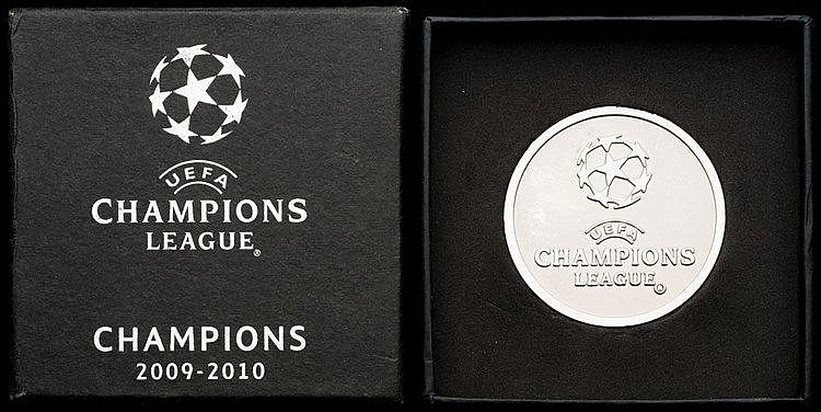 UEFA Champions League 2009-10 commemorative medal,  silvered, competit