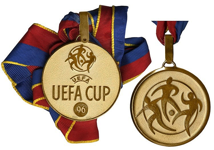 1996 UEFA Cup winner's medal,  .925 continental silver-gilt by Peka, t