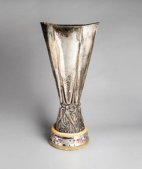 A full-size replica of the UEFA Europa League Trophy (formerly the UEF