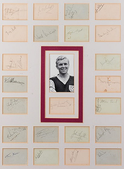 West Ham United autographed display from Bobby Moore's debut senior se