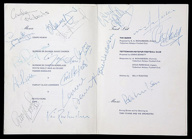 SIgned Tottenham Hotspur 1981 F.A. Cup Final Celebration Banquet menu,
