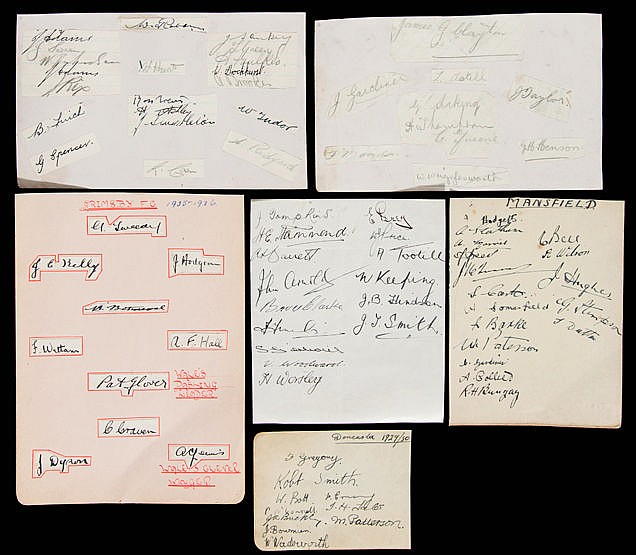 Six pre-war football team-group autographs,  Fulham (15 autographs), G