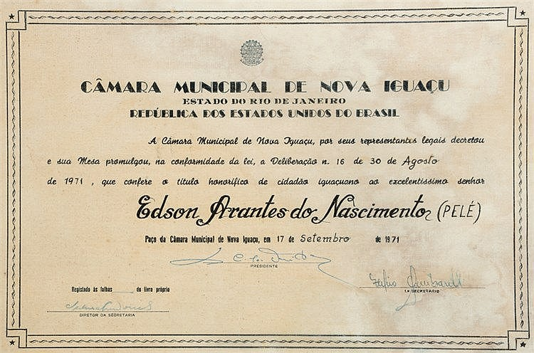 Pele 1971 Nova Iguacu, Brazil, Honorary Citizen Citation, presented t