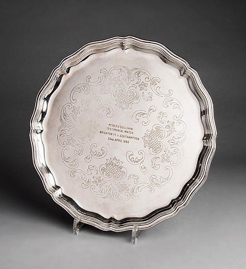 A Peter O'Sullivan Testimonial Match salver presented to the Brighton