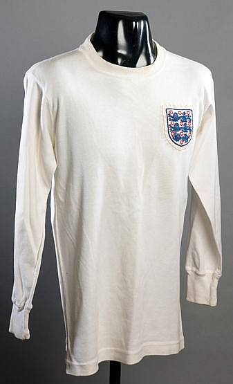 Jackie Charlton England No.5 international jersey 1965,  initialed in