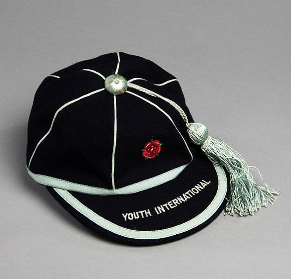 England Youth International football cap, the blue cap with red rose