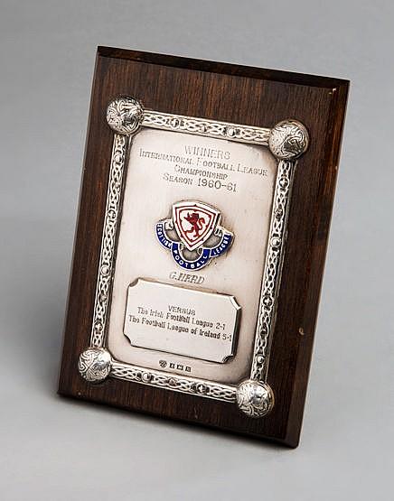Silver & enamel 1960-61 International Football League Championship tro