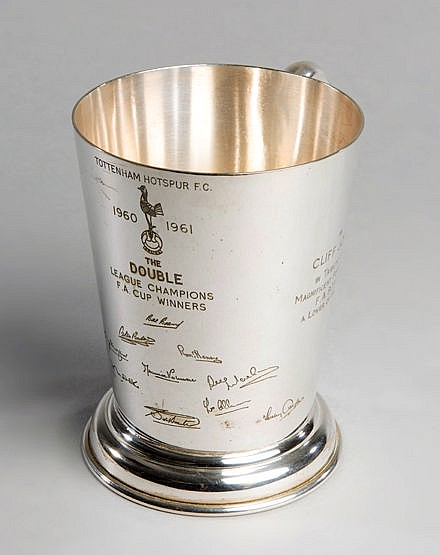Tottenham Hotspur 1960-61 Double Winners tankard presented to Cliff Jo