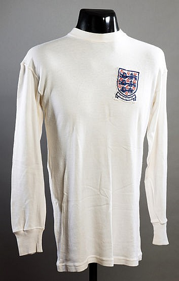 Billy Jennings white England Youth No.8 international jersey 1967-68,
