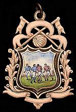 Late 19th century Scottish football medal,  9ct. gold, hallmarked Edin