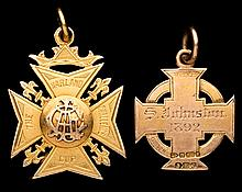 Two Irish football medals won by Sam Johnston of Linfield FC,  both in