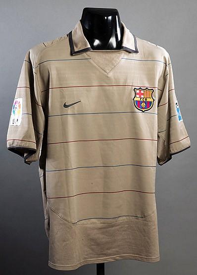 Ronaldinho: a Barcelona No.10 away jersey circa 2004, short-sleeved w