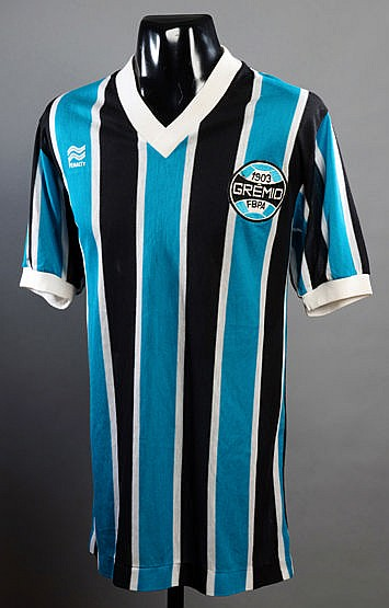 Renato Gaucho sky blue, black & white striped Gremio No.7 jersey worn