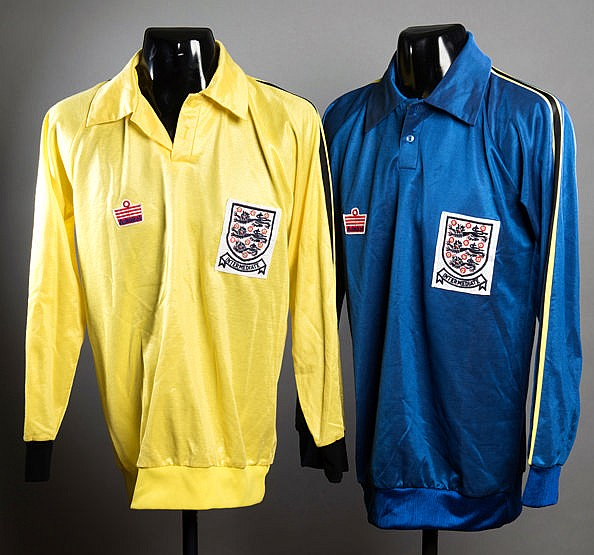 A pair of England intermediate international goalkeeping jerseys early