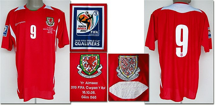 Jason Koumas: a Wales No.9 jersey 2008-09,  short-sleeved, from a Worl