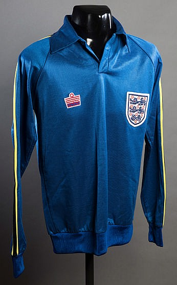Ray Clemence blue England goalkeeping jersey circa 1981,  admiral, lon