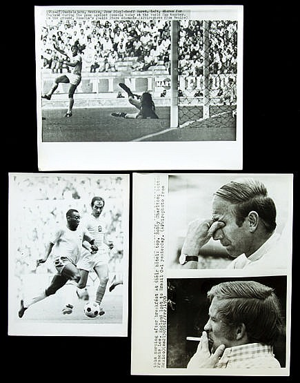 Ten 1970 World Cup press photographs mostly featuring England in match