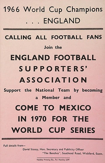 An England Football Supporters' Association flyer for the 1970 World C