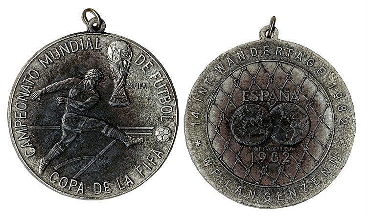 A 1982 World Cup commemorative medal formerly in the collection of the