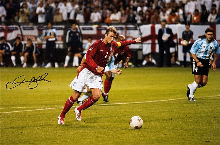 David Beckham signed large colour photograph oh his penalty kick v Arg