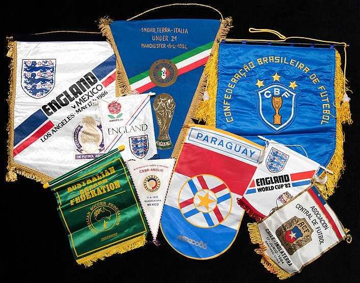 Alan Odell England football pennant collection, including 9 large Eng