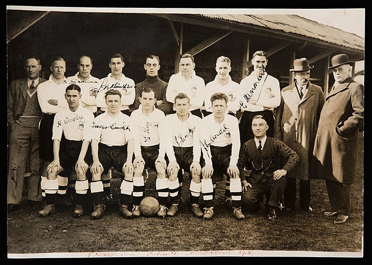 Signed Fulham football team photograph 1928,  original 8 by 11in. b