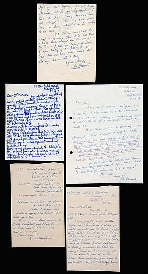 A group of four signed manuscript letters from Fulham footballers, Te