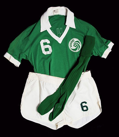 Franz Beckenbauer's Cosmos No.6 playing kit worn in the NASL Eastern D
