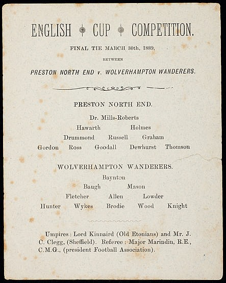 Very scarce and early F.A. Cup final programme Preston North End v Wol