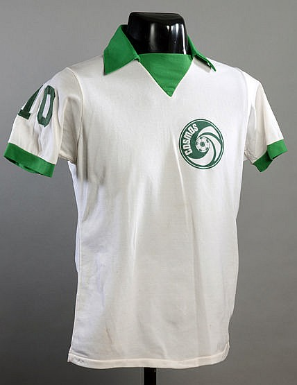 Pele match-worn white Cosmos No,10 jersey from the friendly game v Laz