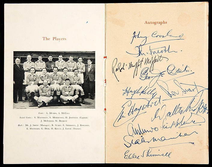 Signed Blackpool 1948 F.A. Cup Final Celebration Dinner menu,  12 sign