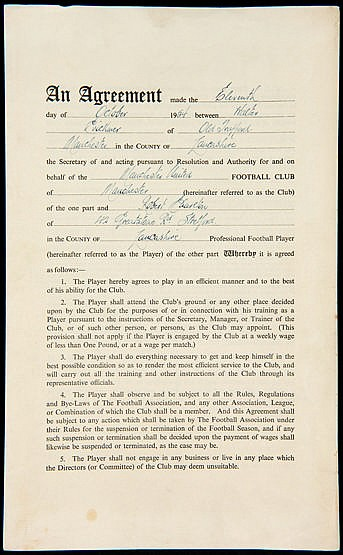 Bobby Charlton's first professional playing contract signed on 11th Oc