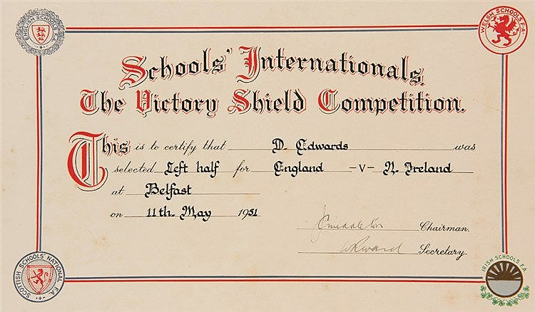 Early item of Duncan Edwards memorabilia: an English Schools' F.A. 'Sc