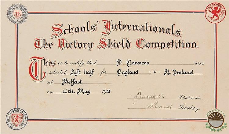 Early item of Duncan Edwards memorabilia: an English Schools' F.A. 'Sc