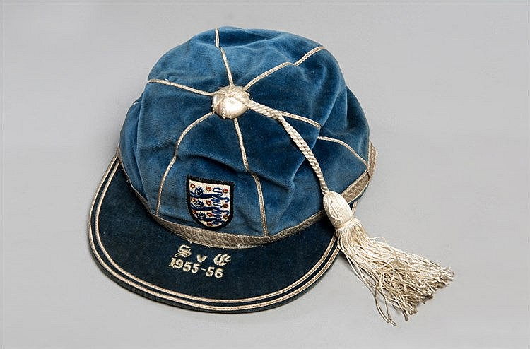 The blue England v Scotland international cap awarded to the Mancheste