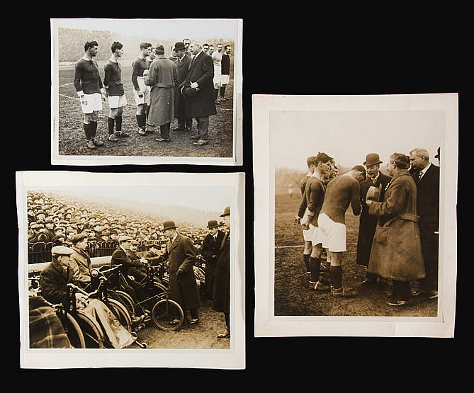 Three original photographs of HM King George V attending the Chelsea v