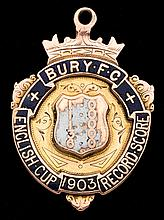 9ct. gold & enamel medal commemorating the Bury FC 1903 F.A. Cup win,