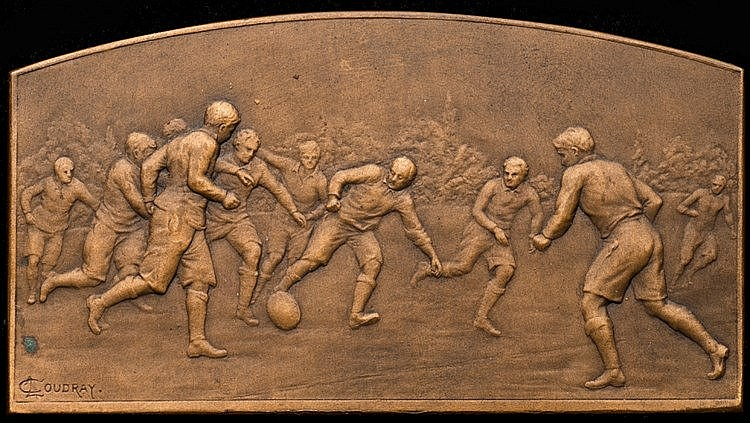A football medal awarded in Germany in 1919, a bronze plaquette, the