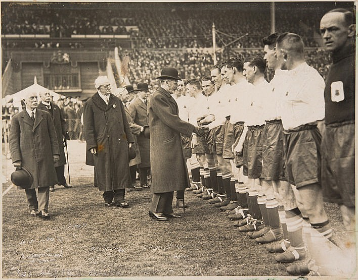 Original photograph of King George V shaking hands with the Huddersfie