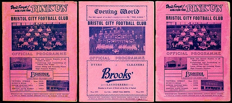 Seven Bristol City home programmes,  three v Cardiff City 1st May 1937